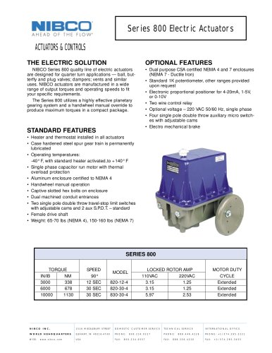 Series 800 Electric Actuators