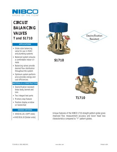 T/S1710 Circuit Balancing Valve NPI