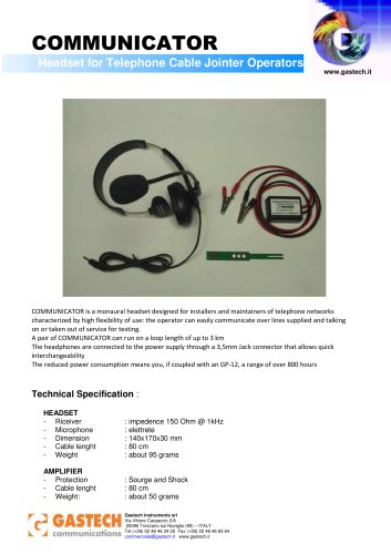 HEADSET FOR TELEPHONE CABLE JOINTER OPERATOR