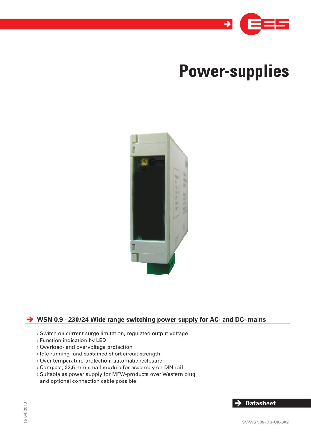 Power Supplies Wsn 09 Elektra Elektronik Gmbh Co Strcontroller Automatic Voltage Regulator Supply Circuit Powersupply 1 2 Pages