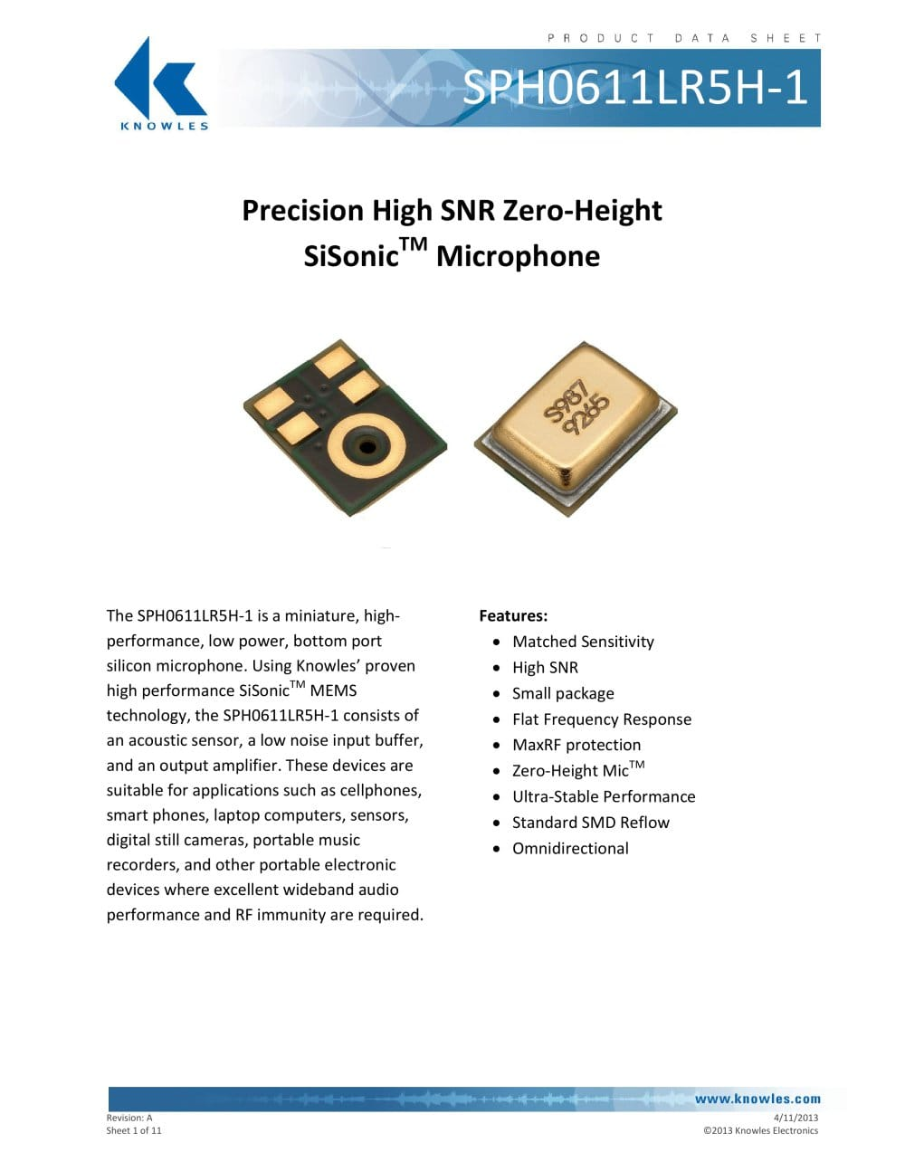 Ultra Low Noise Microphone Sph0611lr5h 1 Surface Mount Mems Knowles Electronics Llc Pdf 11 Pages