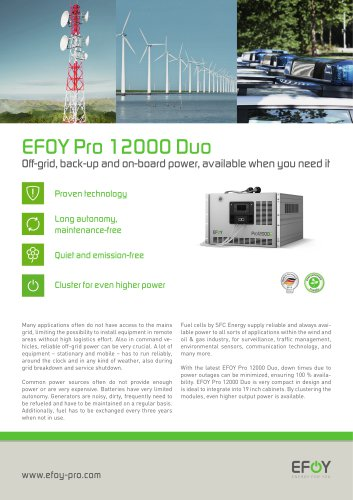EFOY Energy Solutions Product Catalogue