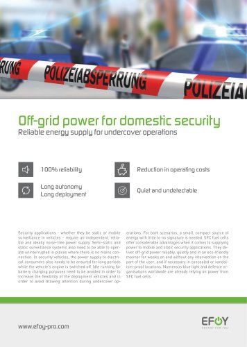 Off-grid power for domestic security