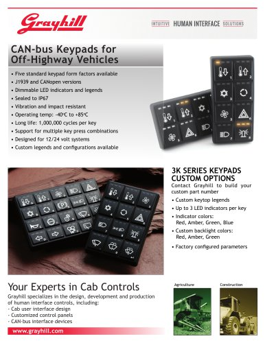 CAN-bus Keypads for Off-Highway Vehicles