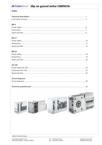 Slip-on geared motor Compacta documentation