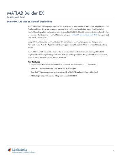 MATLAB Builder EX (for Microsoft Excel)