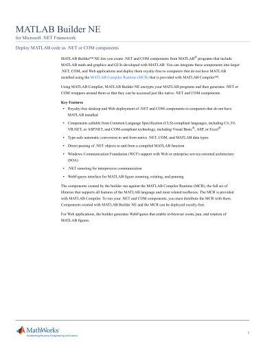 MATLAB Builder NE (for Microsoft .NET Framework)