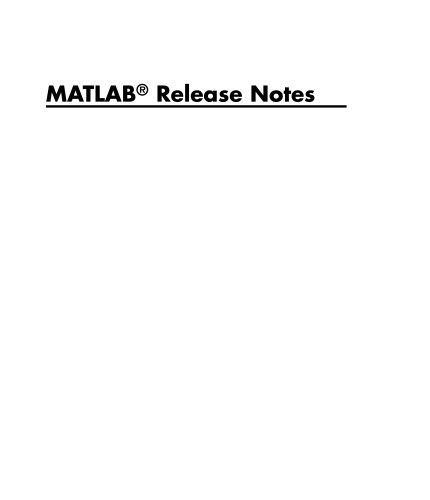 MATLAB Release Notes