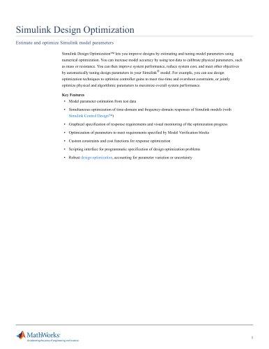 Simulink Design Optimization