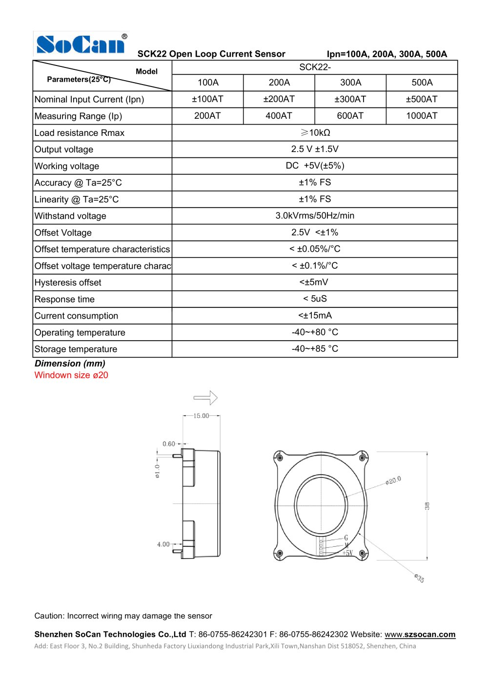 Socan Open Loop Current Sensor Sck22 Series Shenzhen Wiring Diagram 1 Pages