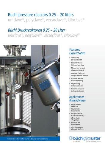 Midscale Buchi Pressure Reactors 250 ml – 20 Liters  «ecoclave» «polyclave» «versoclave» «kiloclave»