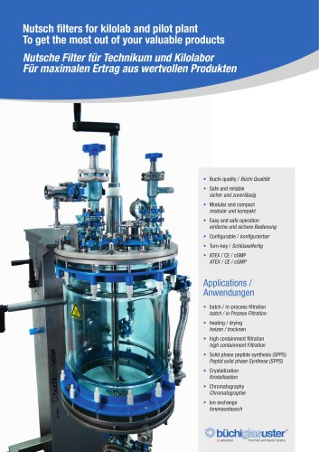 Nutsch filters for kilolab and pilot plant