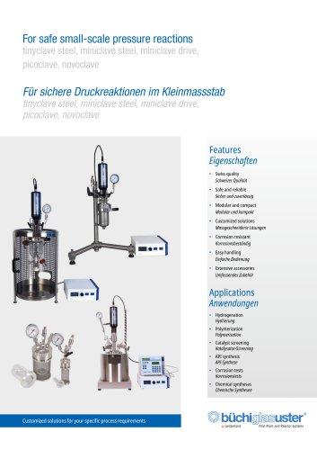 Small Scale Pressure Reactors  «tinyclave steel», «miniclave steel», «miniclave drive», «picoclave», «limbo»