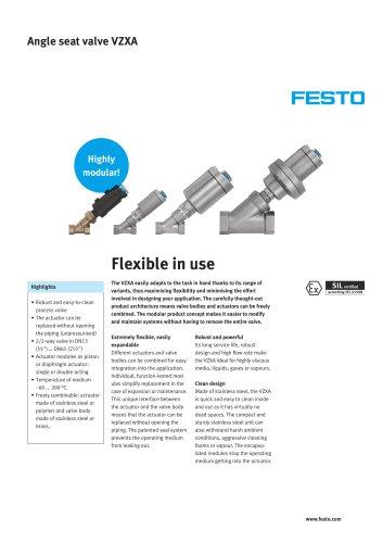 Angle seat valve VZXA - flexible in use
