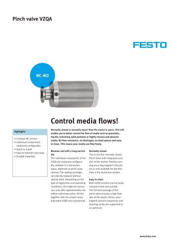 Pinch valve VZQA - Control media flows!