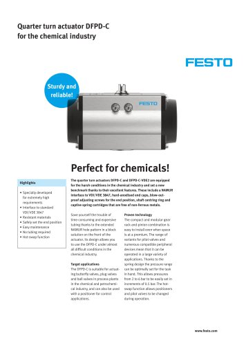 Quarter turn actuator DFPD-C: Perfect for the chemical industry!
