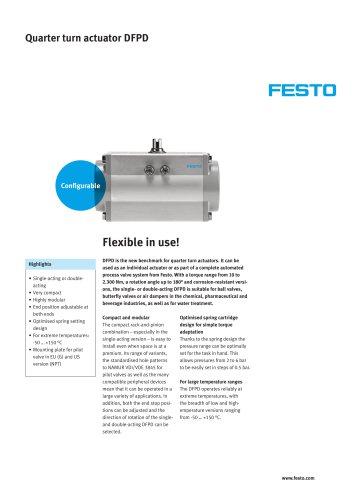 Quarter turn actuator DFPD - flexible in use!