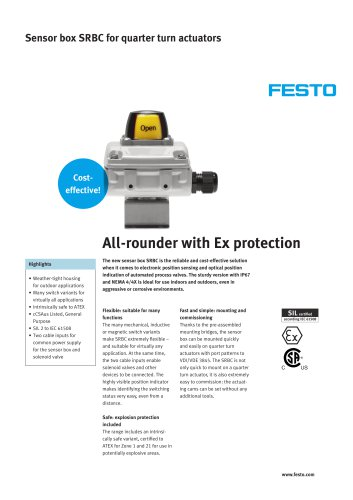 Sensor box SRBC for quarter turn actuators - All-rounder with Ex protection
