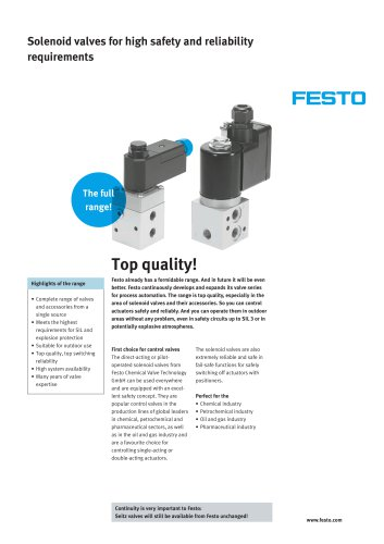 Solenoid valves for high safety and reliability requirements: VOFC & VOFD
