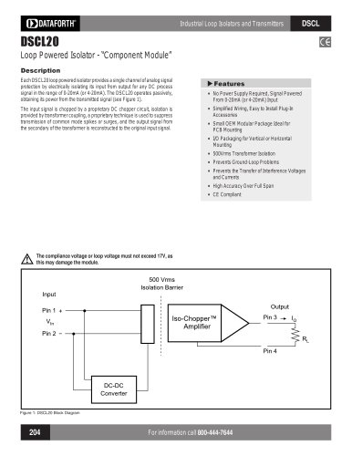 Analog Voltage Input Signal Conditioners, Narrow Bandwidth DSCL20-01