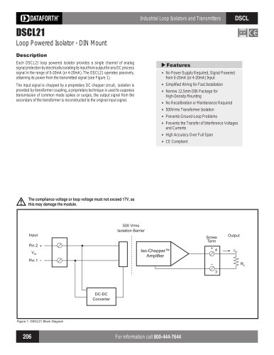 Analog Voltage Input Signal Conditioners, Narrow Bandwidth DSCL21