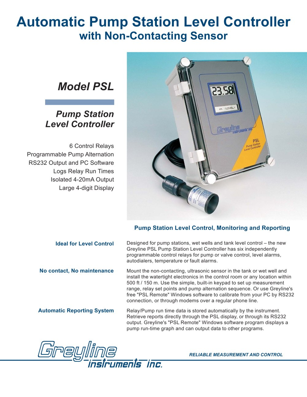 Psl Pump Station Level Controller Greyline Instruments Pdf Next The Four Relay Outputs From Remote Control Inbuilt Relays 1 4 Pages