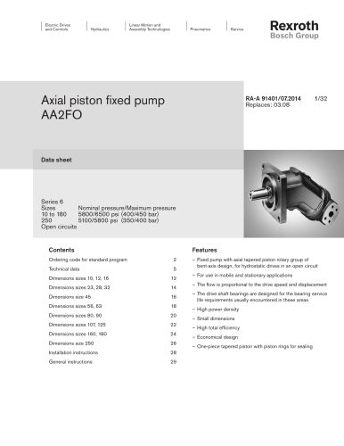 Axial piston fixed pumpAA2FO