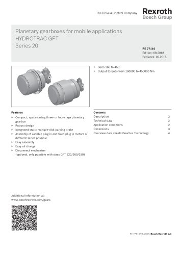 Planetary gearboxes for mobile applications HYDROTRAC GFT Series 20