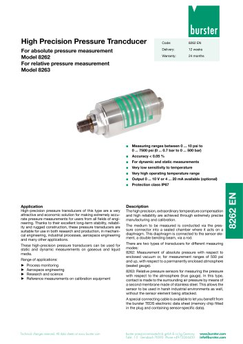 High Precision Pressure Trancducer