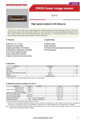 CMOS linear image sensor S14772