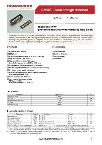 CMOS linear image sensors S13014 S13014-10