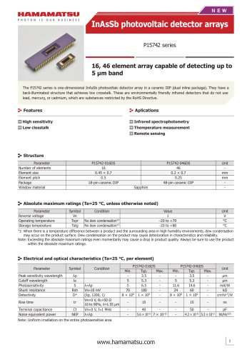 InAsSb photovoltaic detector arrays P15742 series