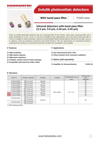 InAsSb photovoltaic detectors  With band-pass filter P13243 series