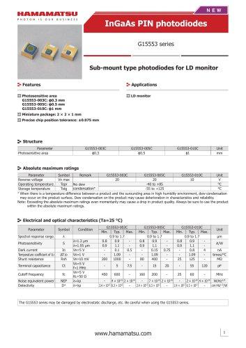 InGaAs PIN photodiodes G15553 series