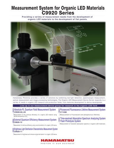 Measurement System for Organic LED Materials C9920 Series