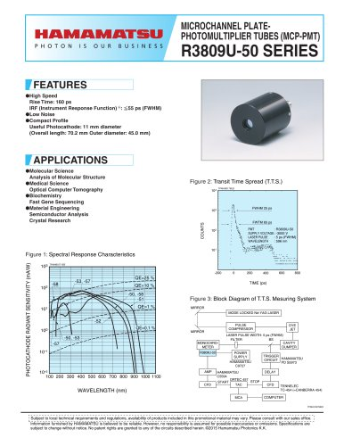 MICROCHANNEL PLATE-PHOTOMULTIPLIER TUBE (MCP-PMTs) R3809U-50 SERIES