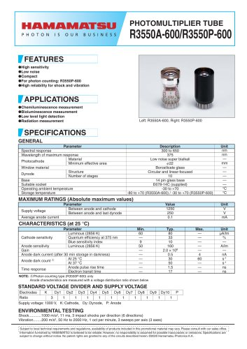 PHOTOMULTIPLIER TUBE R3550A-600/R3550P-600