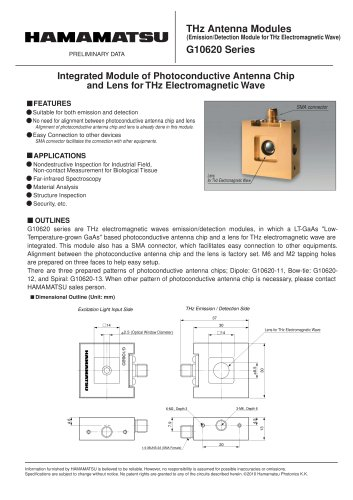 THz Antenna Modules (Emission/Detection Module for THz Wave)