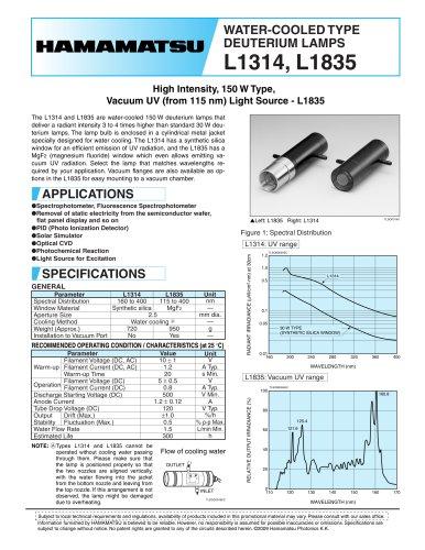 WATER-COOLED TYPE DEUTERIUM LAMP L1314 L1835