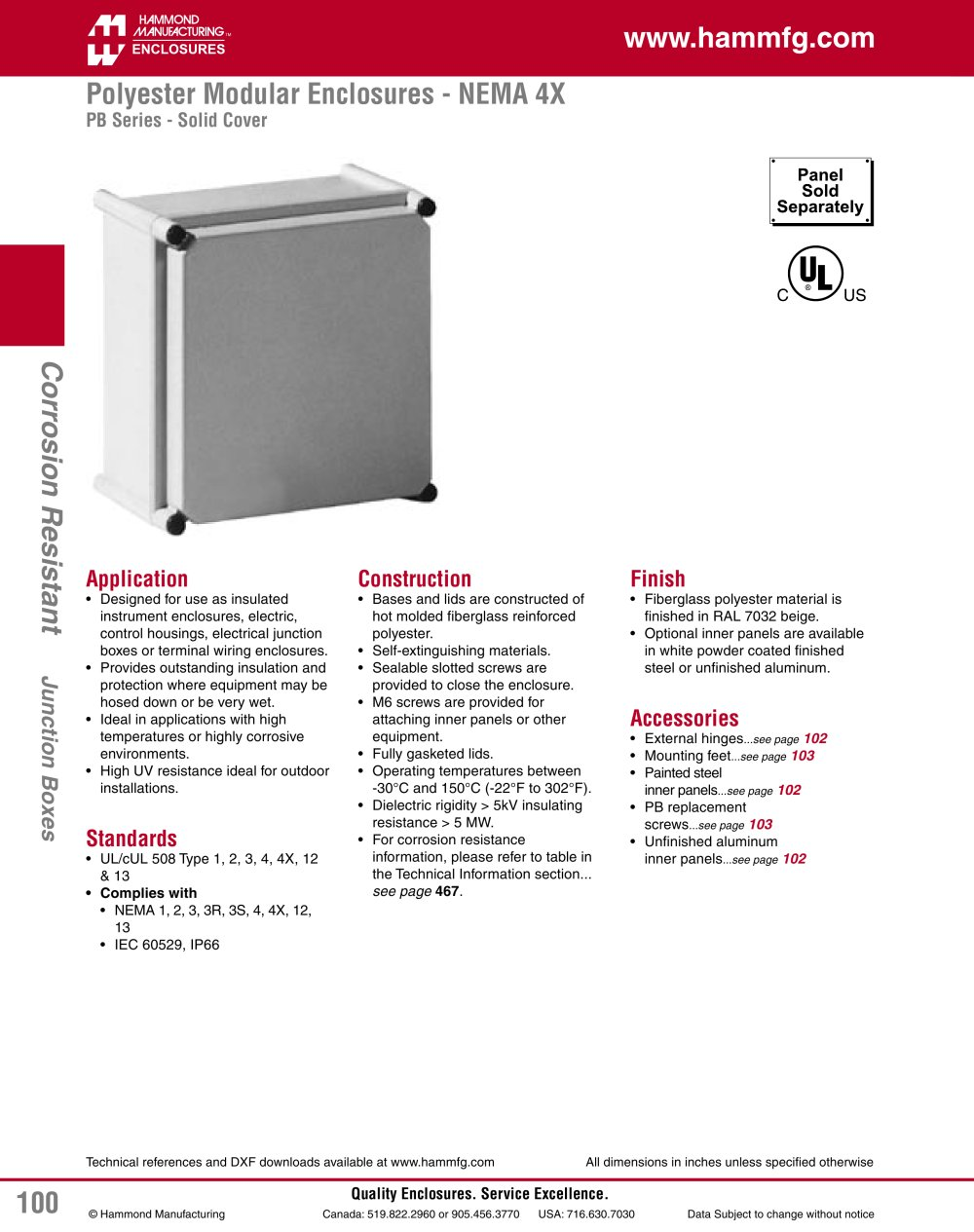 Polyester Modular Enclosures Nema 4x Hammond Pdf Catalogue Wiring Trough 1 2 Pages