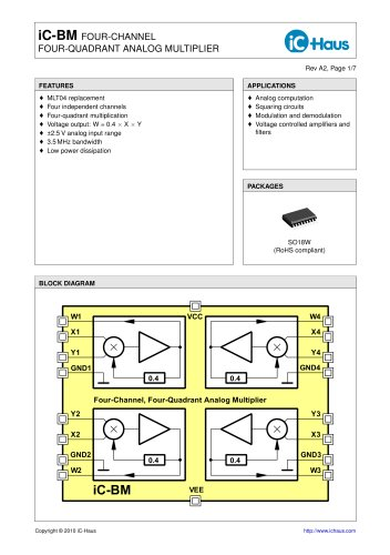 iC-BM Quad Four-Quadrant Analog Multiplier - iC-Haus - PDF