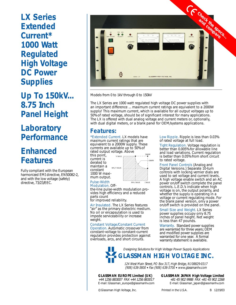 Lx Series Extended Current 1000 Watt Regulated High Voltage Dc Power Supply Supplies 1 2 Pages