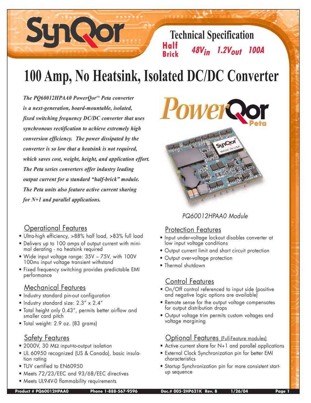 Pq60 Series Synqor Pdf Catalogs Technical Documentation Brochure Overvoltageandlowvoltageprotectioncircuitjpg 1 14 Pages