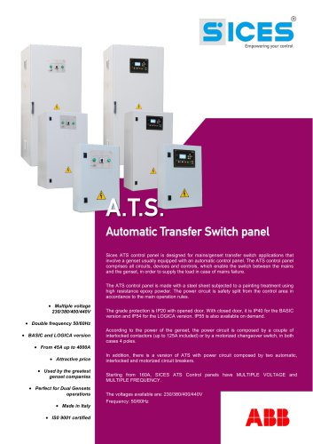ATS Automatic transfer Switch panel