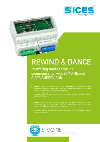 REWIND&DANCE - Communication interfaces with the softwares SI.MO.NE and SICES SUPERVISOR