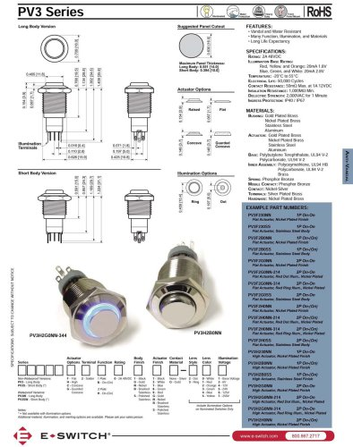 PV3 Series Illuminated, Sealed, Long Life Anti-vandal Switches
