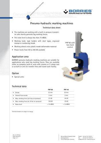 pneumo-hydraulic marking machines