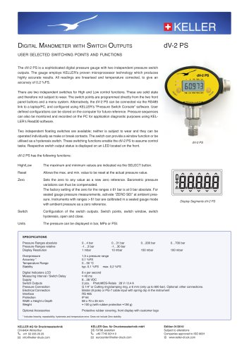Digital Manometer dV-2 PS with Switch Outputs