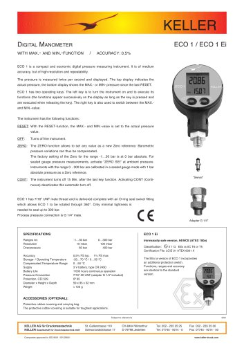 Digital Manometer ECO 1 (Ei)
