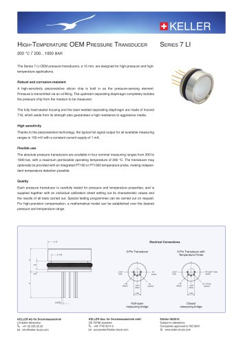 High-Temperature OEM Pressure Transducer Series 7 LI
